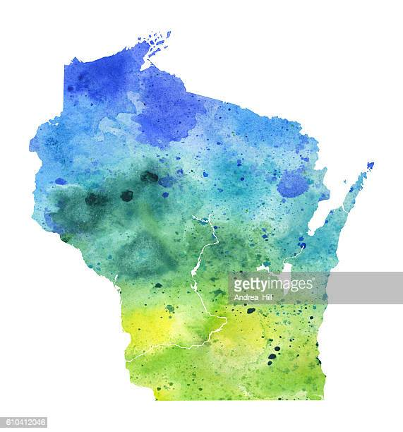 Map of Wisconsin with Watercolor Texture - Raster Illustration