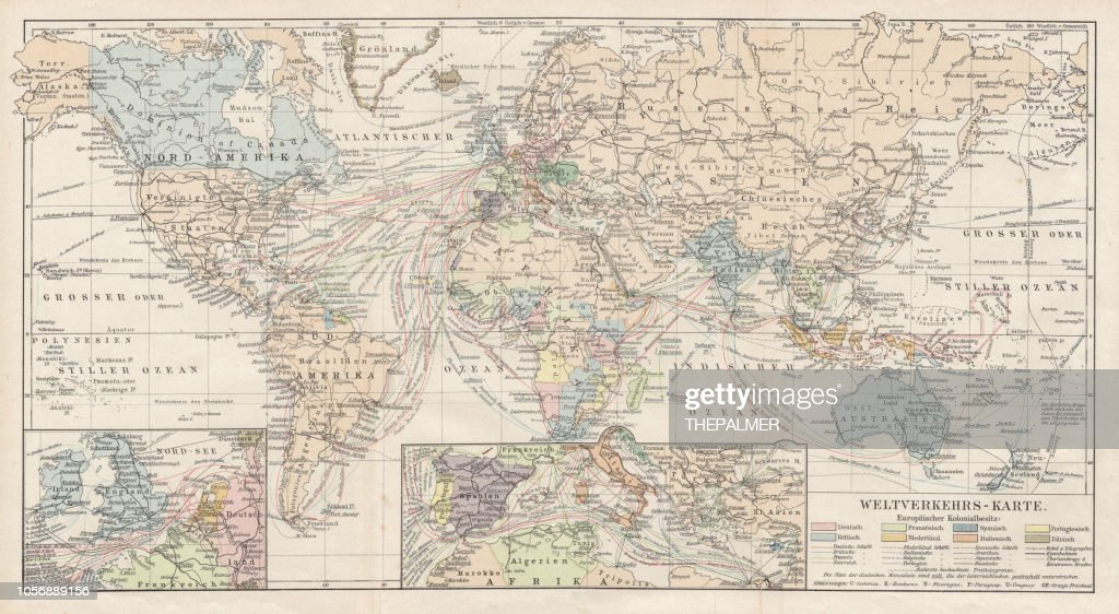 Map Of World Traffic 1900 Stock Illustration | Getty Images
