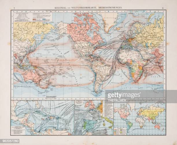 Map of world traffic map and currents 1896