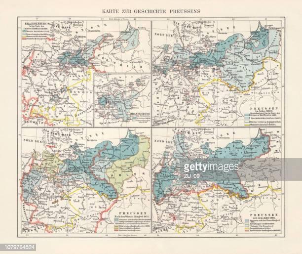 Carte sur le développement territorial de la Prusse, lithographie, 1897
