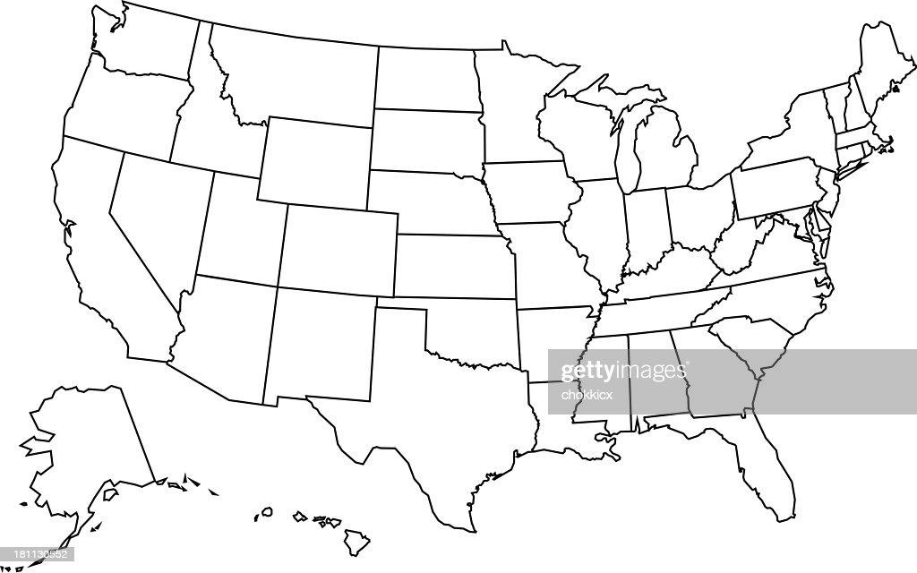 Usa Map Outline stock illustration - Getty Images