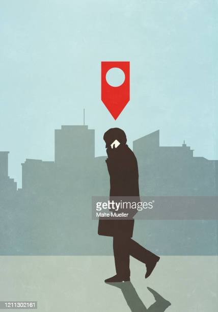 map pin icon above businessman walking and talking on smart phone in city - social media stock illustrations