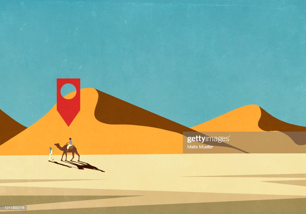 Map Pin Icon Above Man Riding Camel In Desert High Res