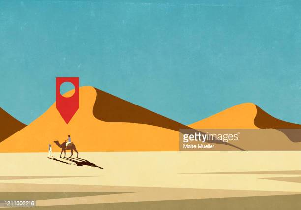 map pin icon above man riding camel in desert - journey stock illustrations