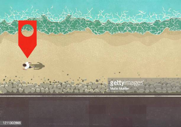 map pin icon above man walking on sunny ocean beach - social media stock illustrations