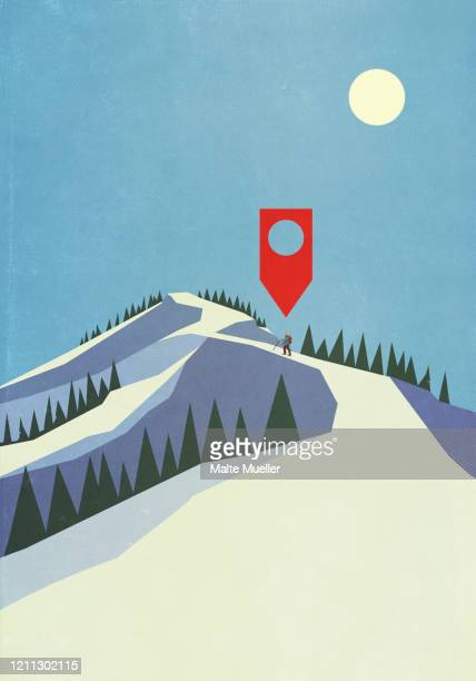 map pin icon above person mountaineering on snowy mountain - journey stock illustrations