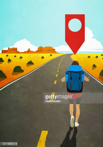 map pin icon above woman backpacking on remote desert road - social media stock illustrations