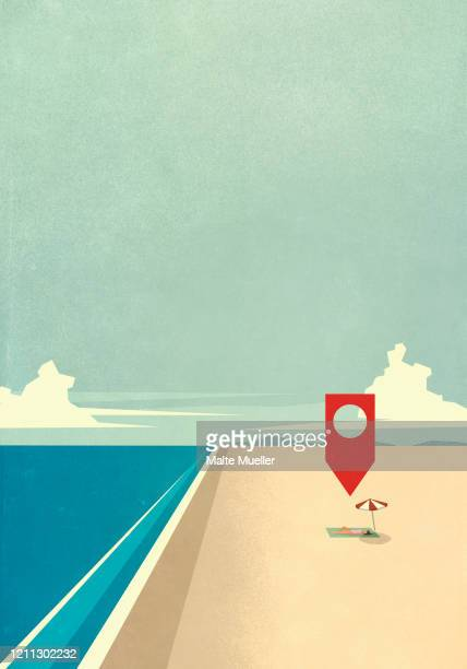 map pin icon above woman laying on sunny ocean beach - carefree stock illustrations