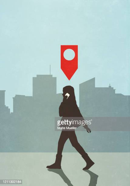 map pin icon above woman walking and talking on smart phone in city - transportation stock illustrations