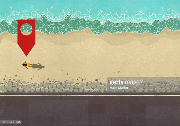 map pin icon above woman walking on sunny ocean beach - road stock illustrations