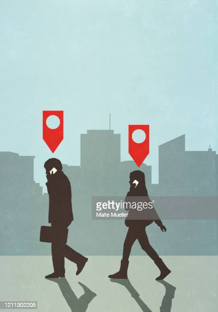 map pin icons above business people walking and talking on smart phone in city - following stock illustrations
