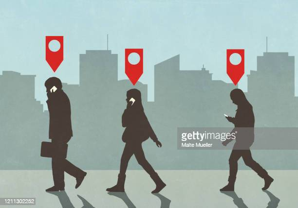 map pin icons above business people walking and talking on smart phones in city - {{relatedsearchurl(carousel.phrase)}} stock illustrations