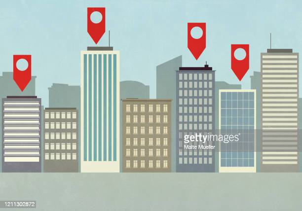 map pin icons above highrise buildings in city - social media stock illustrations