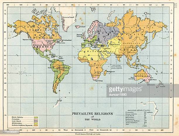 map prevailing religions of the world - protestantism stock illustrations, clip art, cartoons, & icons
