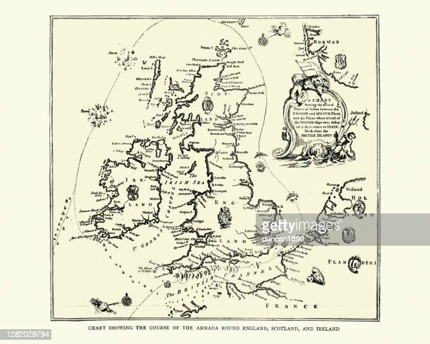 map showing course of the spanish armada round england - spanish culture stock illustrations