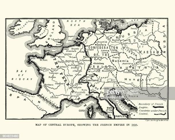 illustrations, cliparts, dessins animés et icônes de carte montrant l'empire français en 1810 - guerres napoléoniennes