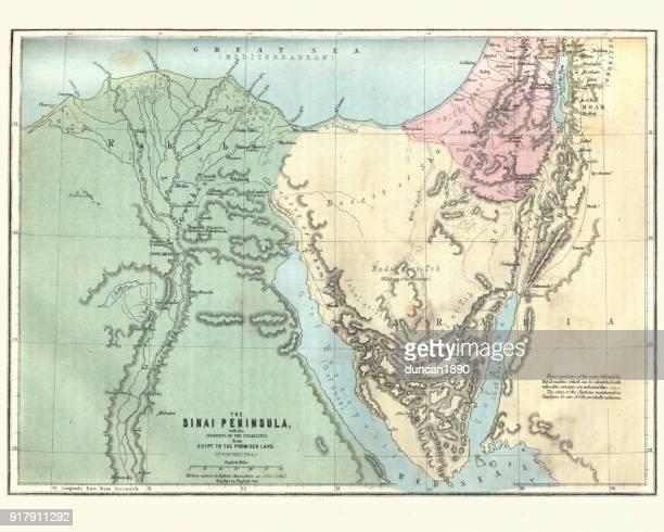 Map Sinain, Journeys of Israelites, Egypt to the promised land