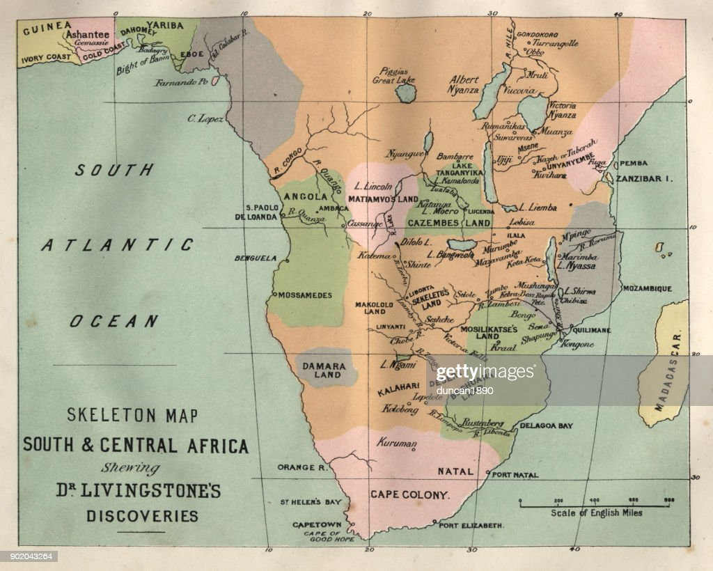 Map south and central africa livingstones discoveries stock map south and central africa livingstones discoveries stock illustration gumiabroncs Gallery