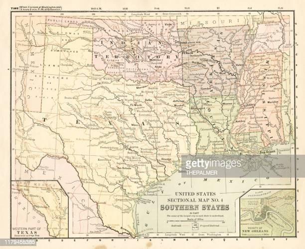 ilustrações, clipart, desenhos animados e ícones de mapa southern states 1881 - estados da costa do golfo