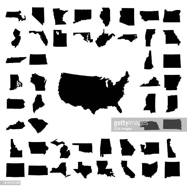 us map surrounded by states - werkzeug stock illustrations