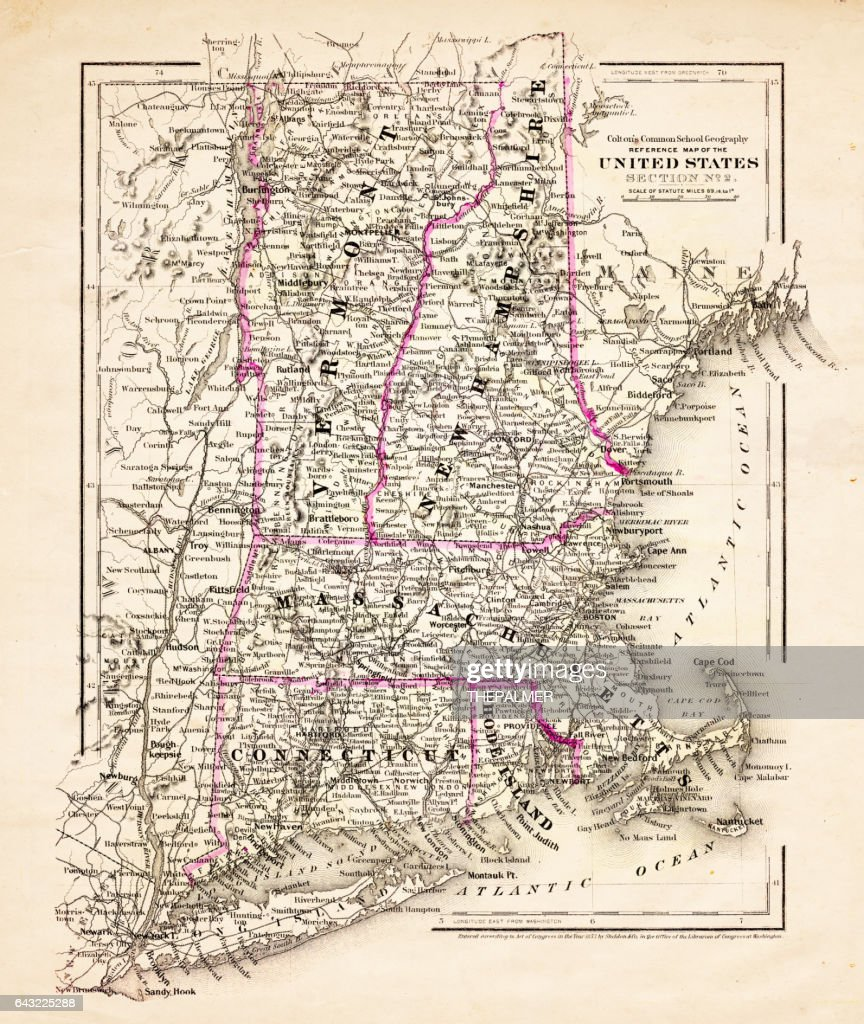 Usa Map Vermont Connecticut 1881 High-Res Vector Graphic ...