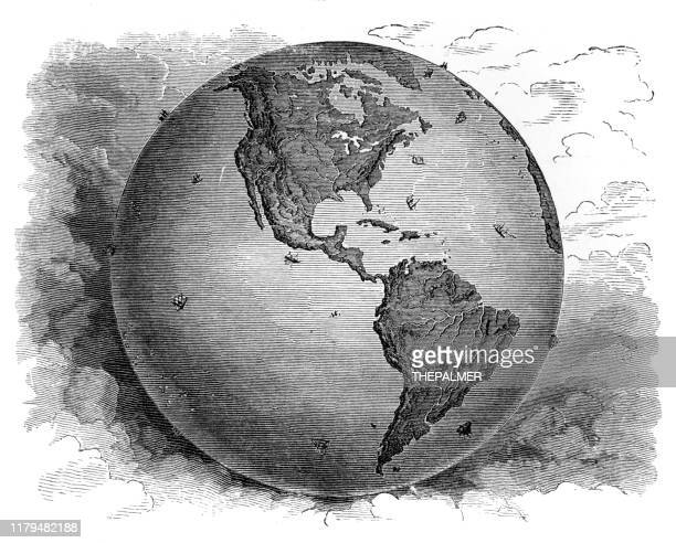 map western hemisphere1881 - etching stock illustrations