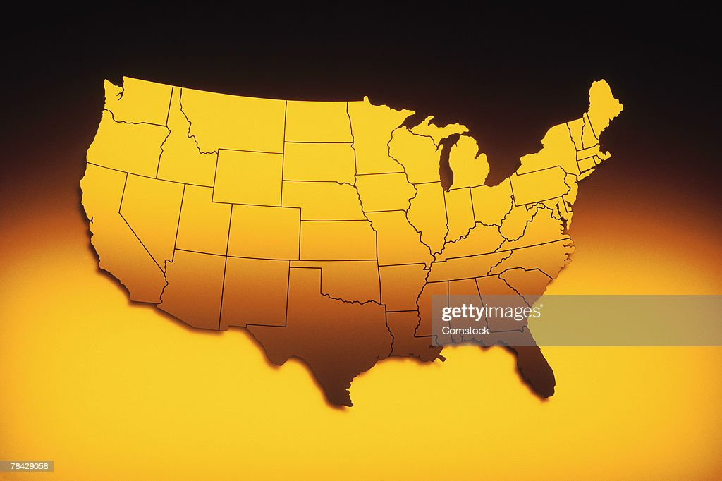 Usa Map With State Boundaries stock illustration - Getty Images