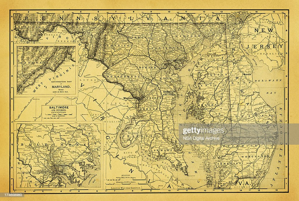 USA Maps and Illustrations | States of DC, Maryland, Delaware : stock illustration