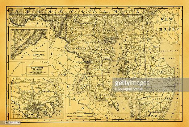 usa maps and illustrations | states of dc, maryland, delaware - maryland us state stock illustrations