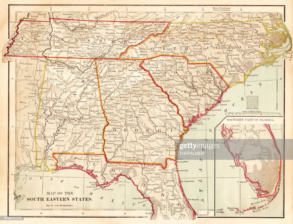 Maps of the southern states USA 1877 : stock illustration