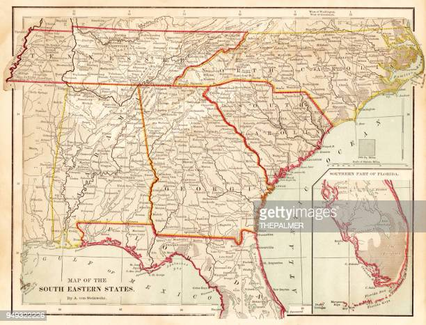 maps of the southern states usa 1877 - alabama stock illustrations, clip art, cartoons, & icons