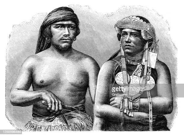 mapuche couple in araucania region 1889 - indigenous peoples of south america stock illustrations