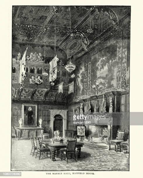 marble hall of hatfield house, 19th century - ellis island stock illustrations, clip art, cartoons, & icons