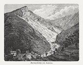 marble quarries carrara italy wood engraving