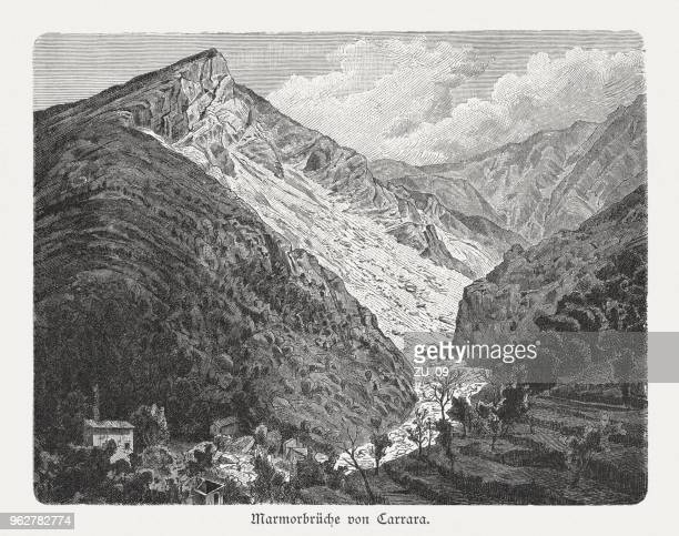 marble quarries of carrara, italy, wood engraving, published in 1897 - marble rock stock illustrations, clip art, cartoons, & icons