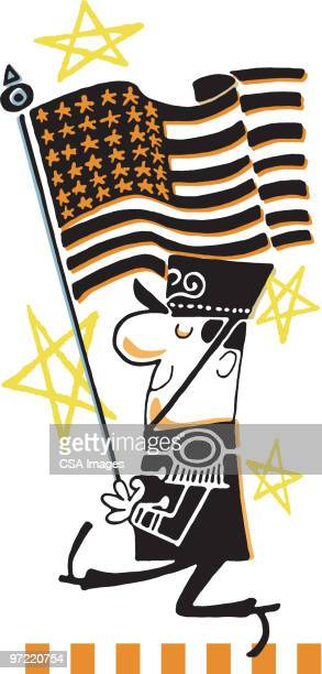 marcher - national flag stock illustrations