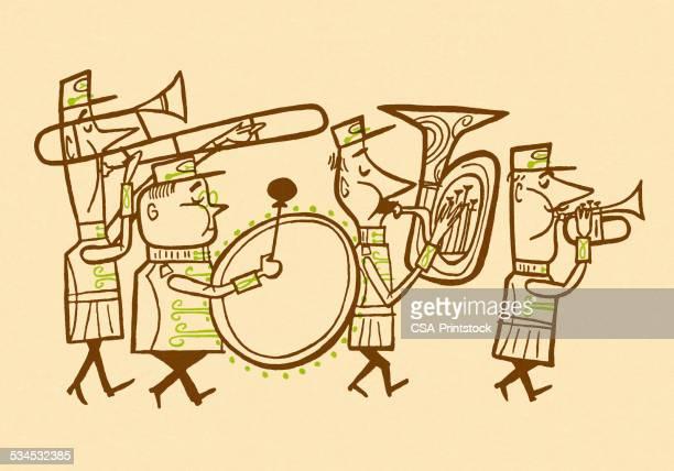 marching band - parade stock illustrations, clip art, cartoons, & icons