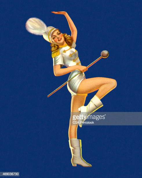 marching band majorette - parade stock illustrations, clip art, cartoons, & icons