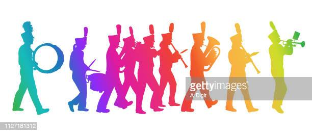 marching band silhouette full lineup rainbow - snare drum stock illustrations, clip art, cartoons, & icons