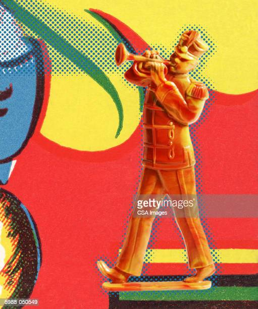 marching band trumpeter - military uniform stock illustrations