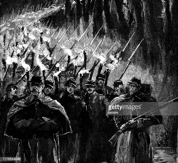 ''marching through georgia'' and the carolinas by flaming torch. (xxxl) - uniform cap stock illustrations