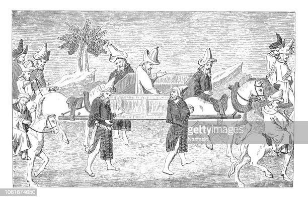 marco polo travelling in a horse-drawn litter through china - circa 14th century stock illustrations, clip art, cartoons, & icons