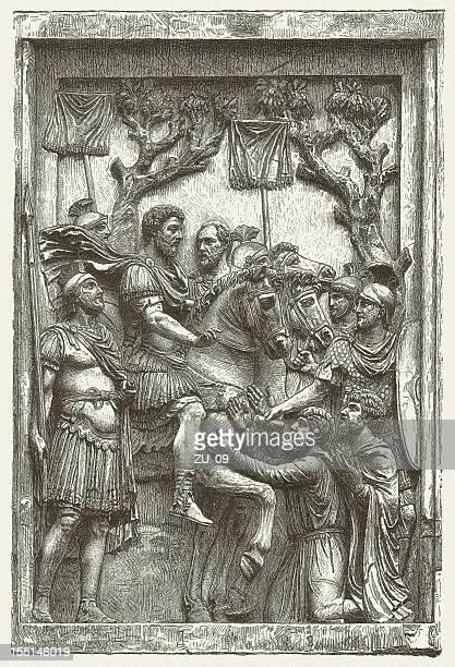 marcus aurelius (161-180 ad), from arch of marcus aurelius, rome - bas relief stock illustrations