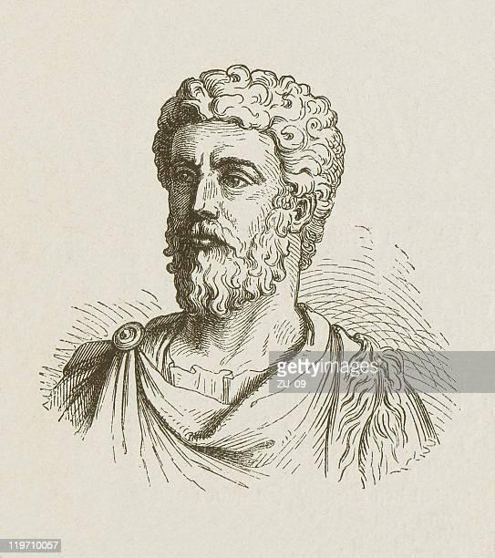 marcus aurelius (121-180), roman emperor, wood engraving, published in 1877 - philosopher stock illustrations