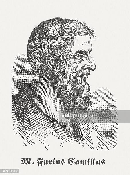 marcus furius camillus (c.446-365 bc), wood engraving, published in 1864 - governmental occupation stock illustrations, clip art, cartoons, & icons