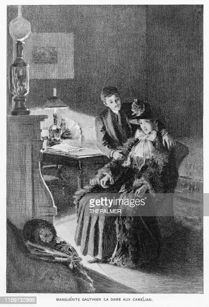 marguerite gaultier engraving 1892 - prostitution stock illustrations, clip art, cartoons, & icons