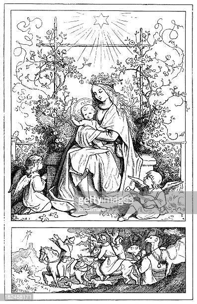 illustrations, cliparts, dessins animés et icônes de maria et l'enfant - galette des rois