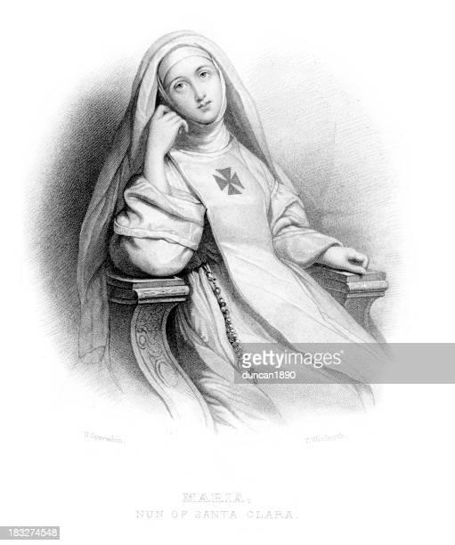 maria nun of santa clara - nun stock illustrations