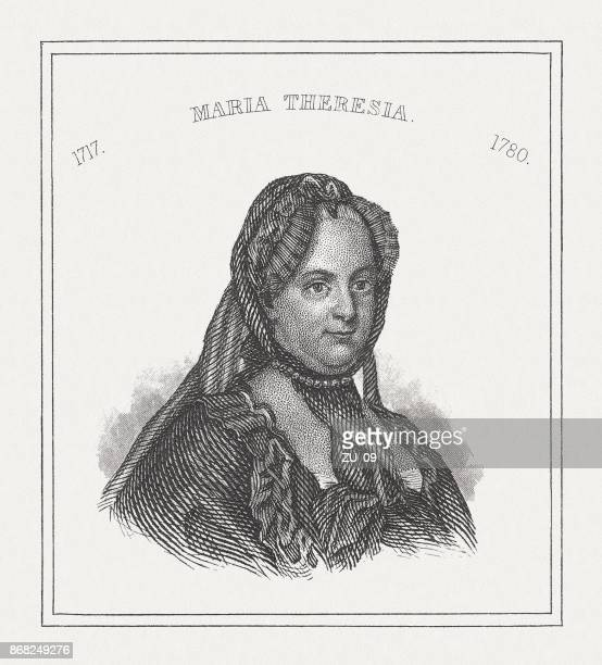 maria theresa of austria (1717-1780), steel engraving, published in 1843 - empress stock illustrations, clip art, cartoons, & icons