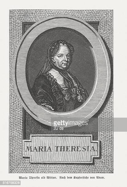 maria theresa of austria (1717-1780), wood engraving, published in 1884 - empress stock illustrations, clip art, cartoons, & icons